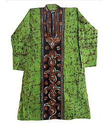Green Batik Kurta with Kantha Stitch