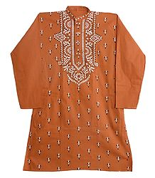 Kantha Embroidery on Saffron Kurta
