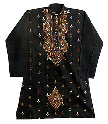 Kantha Embroidery on Black Kurta for Men