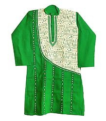 Kantha Stitch Embroidery on Green Cotton Kurta