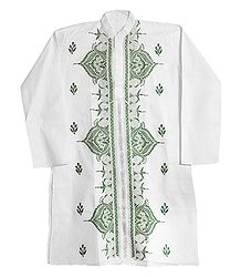 Kantha Stitch Embroidery on White Cotton Kurta