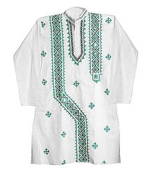 Gujrati Embroidery on White Cotton Kurta