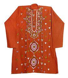 Kantha Embroidery on Mens Rust Red Kurta