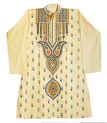 Kantha Stitch Embroidery on Light Yellow Cotton Kurta