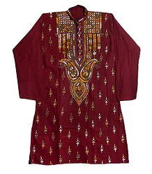 Kantha Stitch Embroidery on Dark Maroon Cotton Kurta