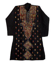 Kantha Stitch Embroidery on Black Cotton Kurta