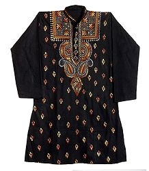 Kantha Stitch Embroidery on Black Cotton Kurta