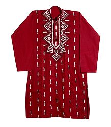 Kantha Stitch Embroidery on Dark Red Cotton Kurta