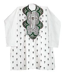 Embroidered White Cotton Kurta for Men