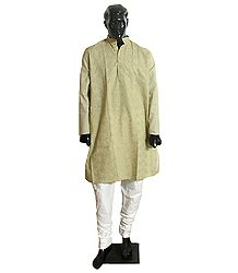 Light Green Embroidered Kurta and White Churidar