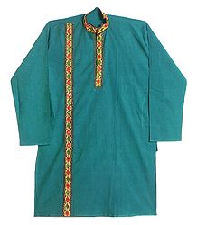 Mirror work and Embroidered Cyan Blue Kurta