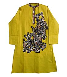 Kantha Stitched and Appliqued Green Cotton Kurta