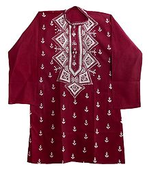 Kantha Embroidery on Mens Maroon Kurta