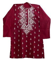 Kantha Embroidery on Mens Maroon Kurta