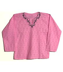 Mens Pink Short Kurta with Embroidered Neckline