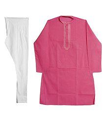 Embroidered Pink Kurta with White Churidar