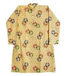 Light Yellow Cotton Silk Printed Kurta
