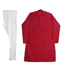 Red Cotton Kurta with White Churidar