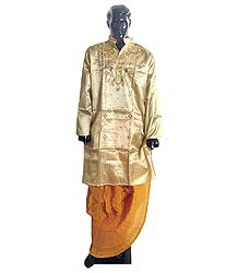 Ready to Wear Dhoti and Embroidered Tussar Kurta
