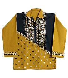 Yellow with Black Patch Short Kurta with Kantha Stitch