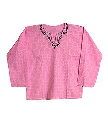 Mens Pink Short Kurta with Embroidered Neckline