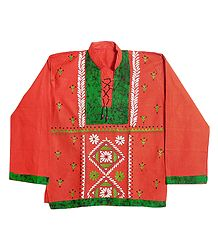 Brick Red with Green Mens Short Kurta with Embroidery
