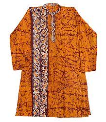 Batik on Yellow Cotton Kurta