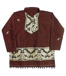 Dark Rust Full sleeve Kurta with Baluchari Weaved Design