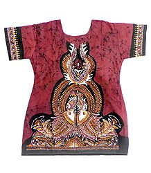 Red and Black Designer Batik Painted Kurta
