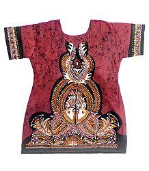 Red and Black Batik Painted Kurta