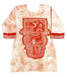White and Saffron Batik Painted Kurta with Gorgeous Design in Front and Border with 3 Quarter Sleeves