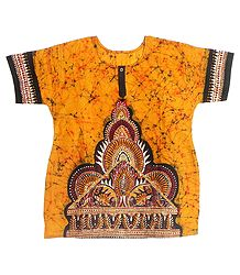 Dark Yellow, Red and Black Batik Painted Kurta