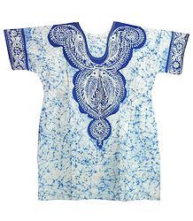 Blue and White Batik Painted Kurta