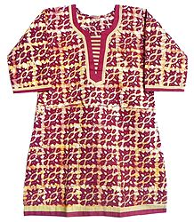 White and Yellow Printed Batik on Dark Red Kurta with Three Quarter Sleeves