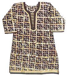 White and Yellow Printed Batik on Dark Brown Kurta with Three Quarter Sleeves