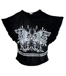 Buy White Butterfly Print on Black Designer Top