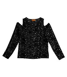 White Stars on Black Synthetic Cold Shoulder Top