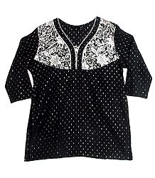 Black with White Embroidered Cotton Kurta