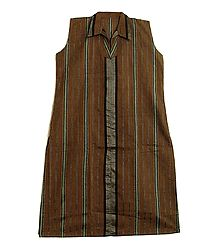 Dark Brown Kurta with Vertical Stripe