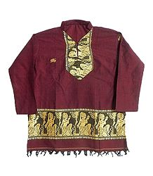 Maroon Full sleeve Kurta with Baluchari Weaved Design