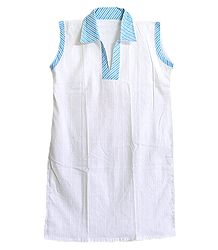 White Kurta with Blue Striped Collar