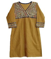 Chrome Yellow Kurta with Printed Black Cloth in Front