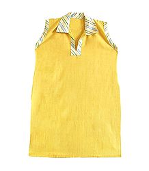 Yellow Kurta with Multicolor Sriped Collar