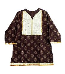 Dark Brown Printed Kurti with Sequine Work on White Appliqued Cloth