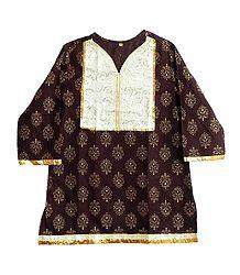 Dark Brown Printed Kurti with Sequine Work on White Appliqued Cloth