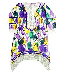 Multicolor Print on White Top with Net on Border and Sleeves