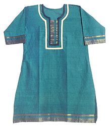 Cyan Blue Madurai Cotton Kurta