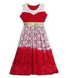 Red Lycra with White and Red Laced Long Gown
