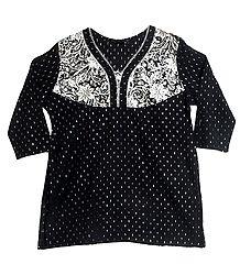 Black with White Embroidered Kurta