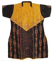 Yellow with Black Kantha Stitch Cotton Kurta